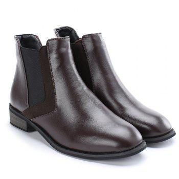 Stacked Heel Chelsea Ankle Boots - COFFEE 37
