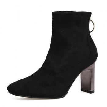 Square Toe Chunky Heel Faux Suede Ankle Boots - BLACK 37