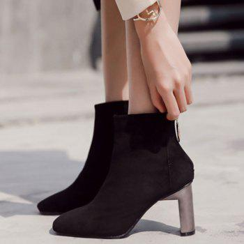 Square Toe Chunky Heel Faux Suede Ankle Boots - BLACK 38