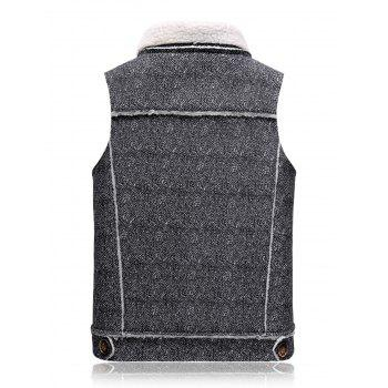 Fleece Oblique Zip Up Waistcoat - BLACK WHITE BLACK WHITE