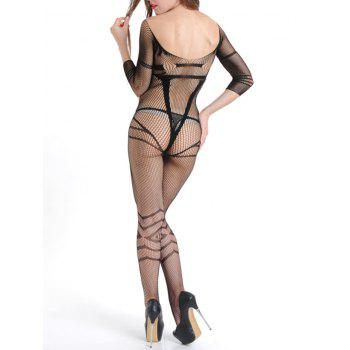 Fishnet Backless Bodystockings with Sleeves - BLACK ONE SIZE