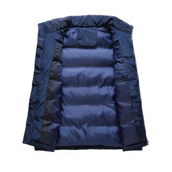 Zip Up Embroidered Padded Waistcoat - DEEP BLUE 2XL