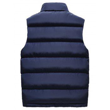 Zip Up Embroidered Padded Waistcoat - DEEP BLUE 3XL