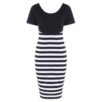 Open Back Striped Fitted Dress - BLACK WHITE BLACK WHITE