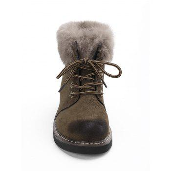 Low Heel Lace Up Fur Boots - KHAKI KHAKI