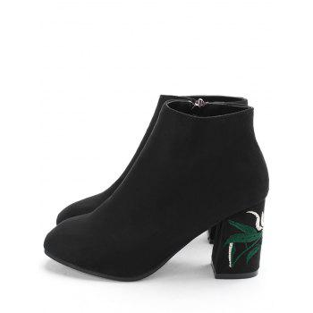 Side Zip Flower Embroidery Chunky Heel Boots - BLACK BLACK