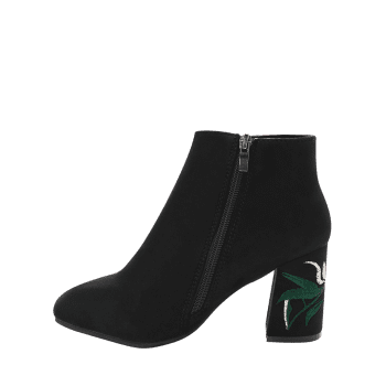 Side Zip Flower Embroidery Chunky Heel Boots - BLACK 35