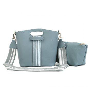 2 Pieces Striped Contrasting Color Handbag Set - LIGHT BLUE LIGHT BLUE