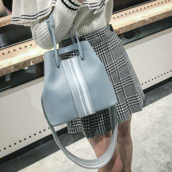 2 Pieces Striped Contrasting Color Handbag Set -  LIGHT BLUE