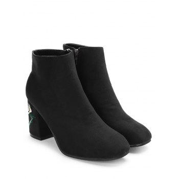 Side Zip Flower Embroidery Chunky Heel Boots - BLACK 39