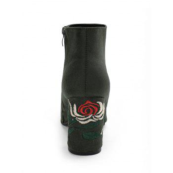 Side Zip Flower Embroidery Chunky Heel Boots - GREEN GREEN