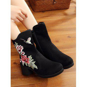 Mid Heel Floral Embroidery Boots - BLACK BLACK