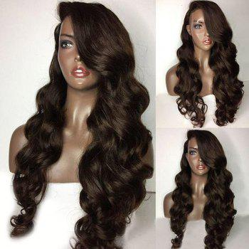 Long Deep Side Part Loose Body Wave Lace Front Human Hair Wig - BROWN BROWN