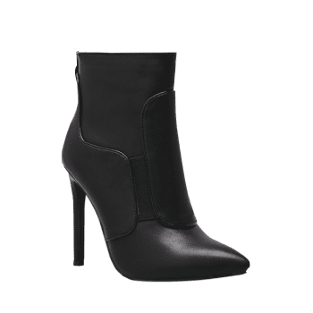 Stiletto High Heel Back Zipper Ankle Boots - BLACK 37
