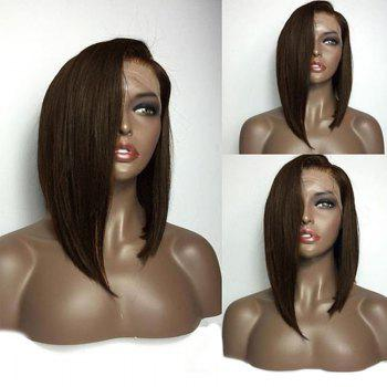 Medium Deep Side Part High Low Bob Straight Lace Front Human Hair Wig - BROWN BROWN