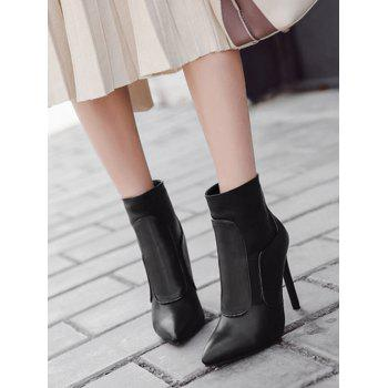 Stiletto High Heel Back Zipper Ankle Boots - BLACK BLACK