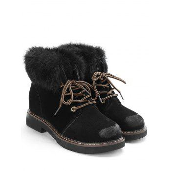 Low Heel Lace Up Fur Boots - BLACK 36