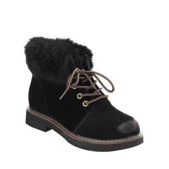 Low Heel Lace Up Fur Boots - BLACK 37