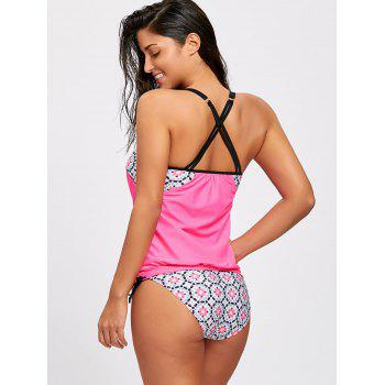 Spaghetti Strap Blouson Printed Swimsuit - ROSE RED ROSE RED