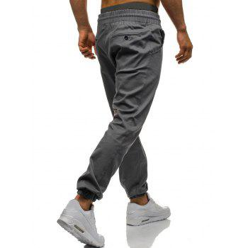 Drawstring Waist Beam Feet Jogger Pants - IRON GREY 2XL
