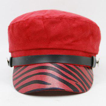 Zebra Stripes Pattern Embellished Military Hat - RED