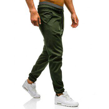 Drawstring Waist Beam Feet Jogger Pants - ARMY GREEN XL