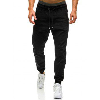 Drawstring Waist Beam Feet Jogger Pants - BLACK BLACK