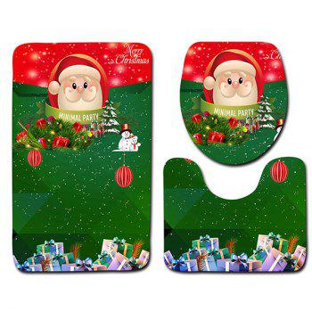 Christmas Theme Graphic 3Pcs Flannel Bath Toilet Rugs Set - GREEN
