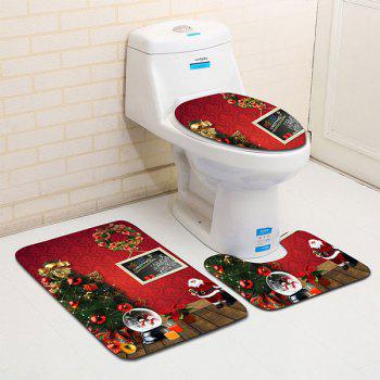 Christmas Theme Printed 3Pcs Flannel Bath Toilet Mats Set - RED RED