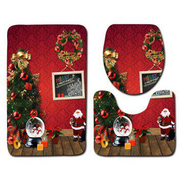 Christmas Theme Printed 3Pcs Flannel Bath Toilet Mats Set -  RED