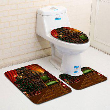 Christmas Theme Graphic 3PCS Flannel Bath Toilet Mats Set - COLORMIX COLORMIX