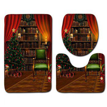 Christmas Theme Graphic 3PCS Flannel Bath Toilet Mats Set - COLORMIX