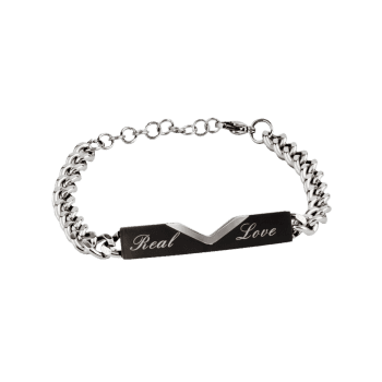 Romantic Real Love Carved Titanium Steel Couples Bracelet -  BLACK