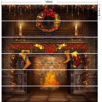 Christmas Fireplace Printed Decorative DIY Stair Stickers - BROWN 100*18CM*6PCS