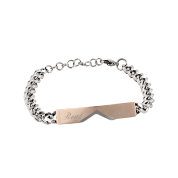 Romantic Real Love Carved Titanium Steel Couples Bracelet -  GOLDEN
