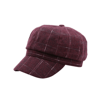 Soft Plaid Pattern Decorated Newsboy Hat - PURPLISH RED C