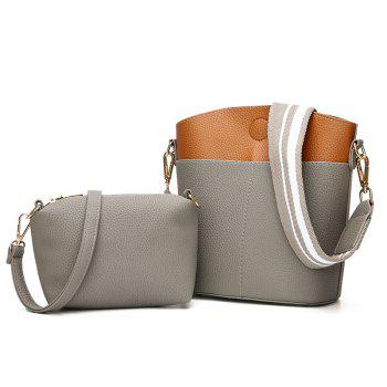 Contrasting Color 2 Pieces Shoulder Bag Set - GRAY GRAY