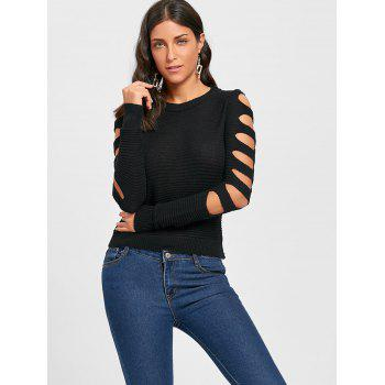 Cold Shoulder Crew Neck Cut Out Sweater - BLACK ONE SIZE