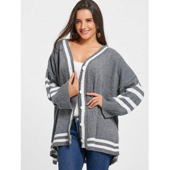 Drop Shoulder Stripe Trim Tunic Cardigan - GRAY ONE SIZE