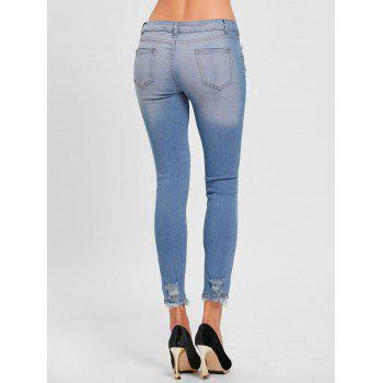 Skinny Distressed Ripped Jeans - BLUE M
