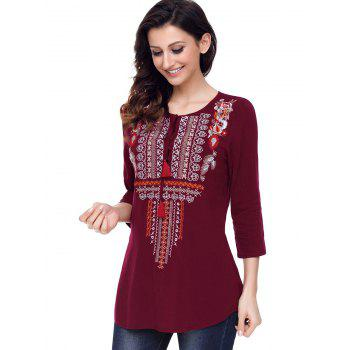 Ethnic Embroidered Tunic Blouse - WINE RED XL