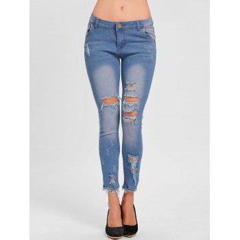 Skinny Distressed Ripped Jeans - BLUE BLUE