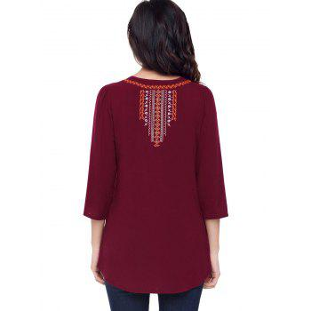 Ethnic Embroidered Tunic Blouse - WINE RED L