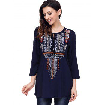 Ethnic Embroidered Tunic Blouse - BLUE 2XL
