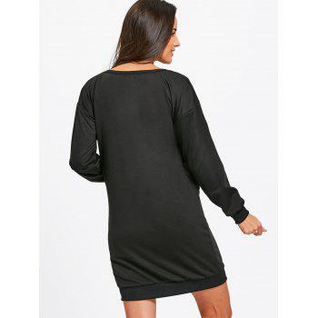Drop Shoulder Sequined Tiger Sweatshirt Dress - BLACK BLACK