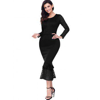 Long Sleeve Lace Panel Bodycon Mermaid Dress - BLACK BLACK