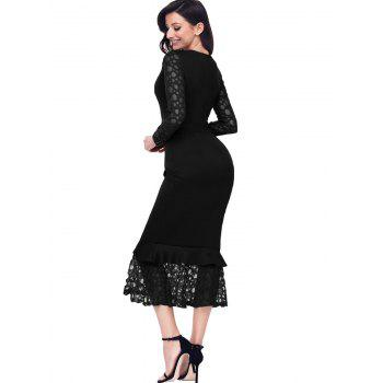 Long Sleeve Lace Panel Bodycon Mermaid Dress - BLACK L