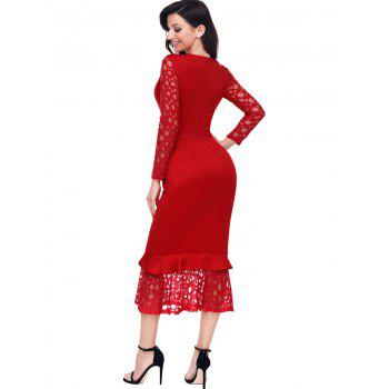 Long Sleeve Lace Panel Bodycon Mermaid Dress - RED XL