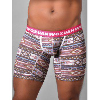 U Contour Pouch Tribal Printed Boxer Briefs - PINK PINK