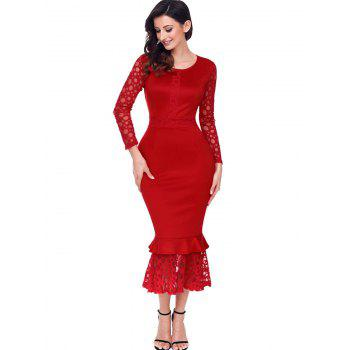 Long Sleeve Lace Panel Bodycon Mermaid Dress - RED RED